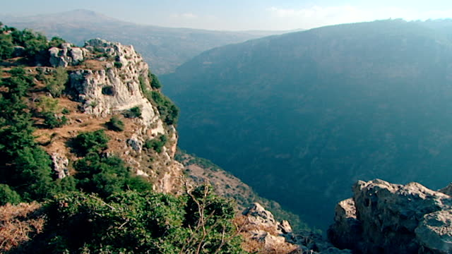 view of the steep cliffs of the qadisha gorge in the northern mount lebanon range - steep stock videos & royalty-free footage
