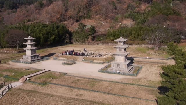 view of the stone pagoda in gameunsa temple site(it was built by king munmu (ad 661-681), gyeong-ju - gyeongju stock videos & royalty-free footage