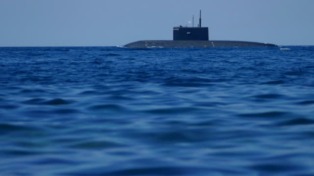 View of the submarine from the surface of the water