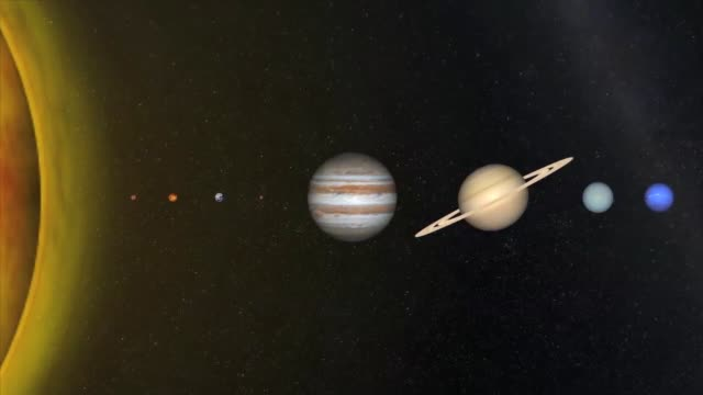 view of the sun and 8 planets in our solar system: mercury, venus, earth, mars, jupiter, saturn, uranus and neptune - solar system stock videos & royalty-free footage