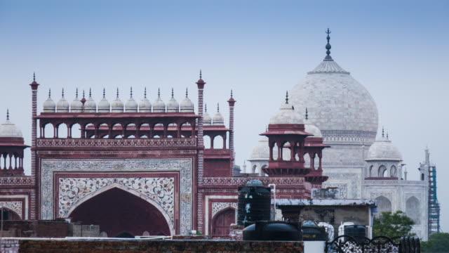 View of the Taj Mahal from a rooftop in Agra, India