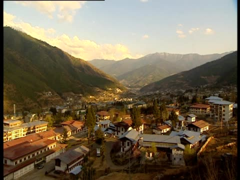 a view of the thimphu in bhutan - thimphu stock videos & royalty-free footage