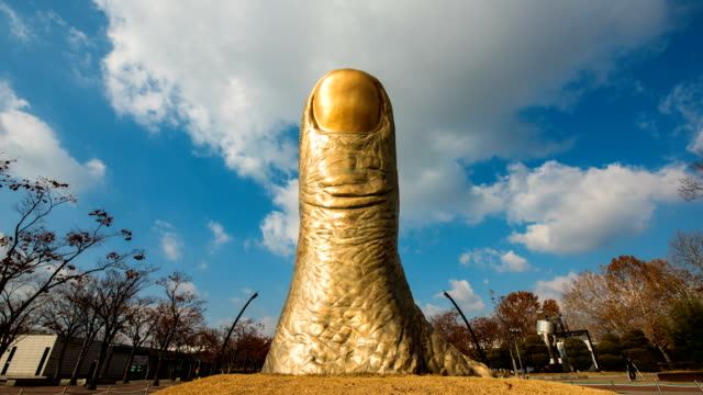 view of the thumb statue at olympic park - thumb stock videos & royalty-free footage