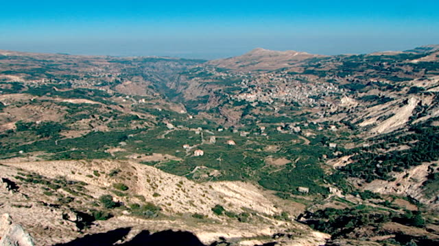 view of the top of the qadisha valley in northern mount lebanon. - canyon stock videos & royalty-free footage