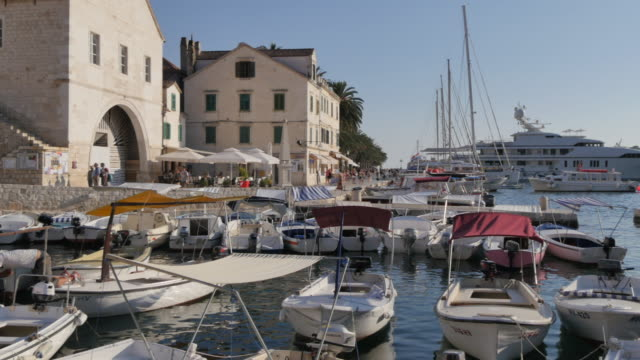 View of the town and harbour of Hvar, Hvar Island, Dalmatia, Croatia, Europe