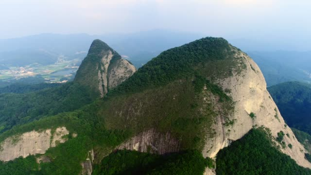 view of the twin peaks in maisan provincial park, jinan-gun - obelisk stock videos & royalty-free footage