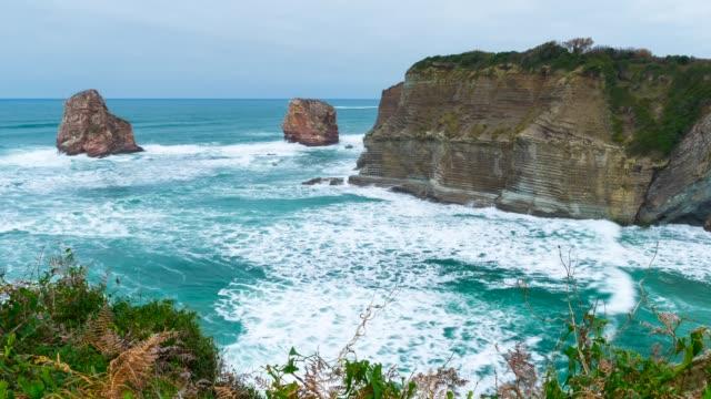 vídeos y material grabado en eventos de stock de view of the twin rocks of hendaye - aquitania