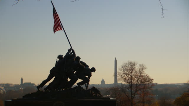View of the United States Marine Corps War Memorial with Washington DC visible in the background