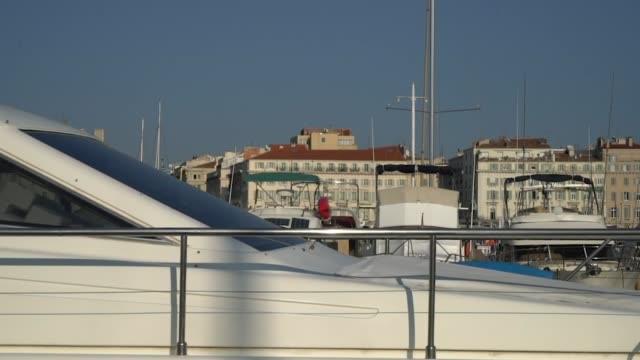 vidéos et rushes de view of the vieux-port from the ferry boat crossing the marina on september 30 in marseille, france. the port city of marseille has ordered all bars... - ferry