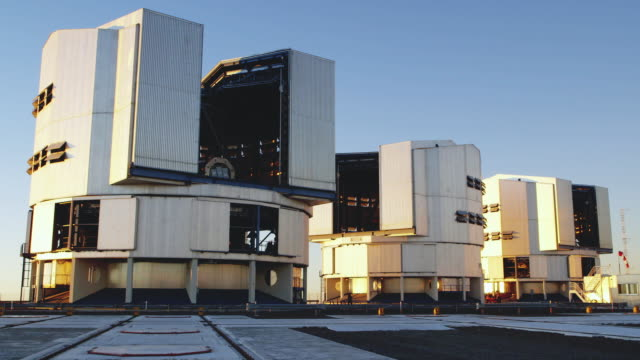 ws view of the vlt telescopes at paranal observatory / chile - four objects stock videos & royalty-free footage