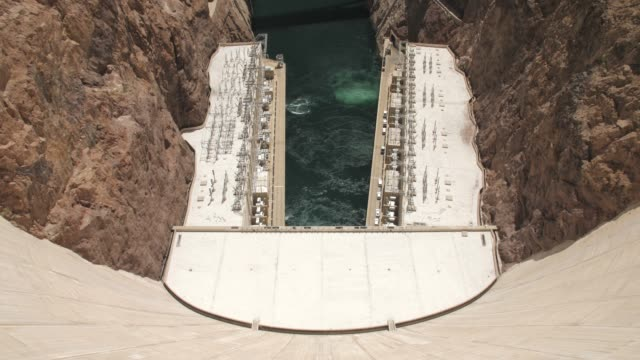 view of the wall of hoover dam, nevada/arizona border, usa, north america - hoover staudamm stock-videos und b-roll-filmmaterial