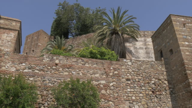 stockvideo's en b-roll-footage met view of the walls of alcazaba from jardines de pedro luis alonso, malaga, andalucia, spain, europe - rond de 11e eeuw