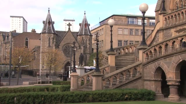 view of the west face of the mcmanus galleries in dundee. the building is in the gothic revival style and houses a museum and art gallery with a... - lorraine kelly stock videos & royalty-free footage