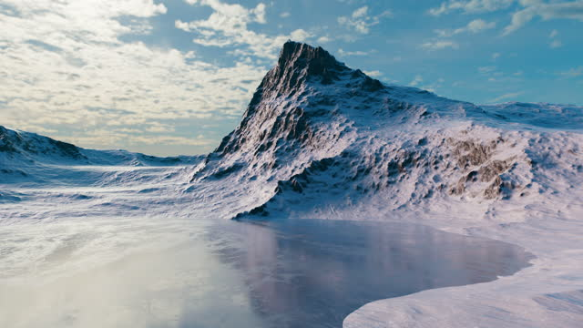 view of the winter mountains near the lake. the lake is located in a valley surrounded by mountains. - frozen stock videos & royalty-free footage