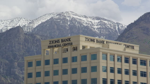 view of the zions bank center in downtown provo, utah - provo stock videos & royalty-free footage