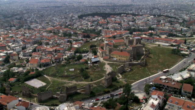 ws aerial ds view of thessaloniki castle / thessaloniki, macedonia, greece  - thessalonika stock videos & royalty-free footage