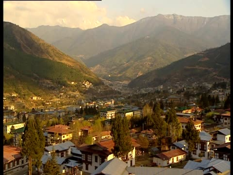 a view of thimphu in bhutan - thimphu stock videos & royalty-free footage