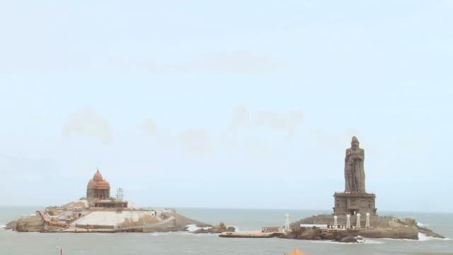 ws view of thiruvalluvar statue and vivekananda rock memorial on islands / kanyakumari, tamil nadu, india - memorial stock videos & royalty-free footage