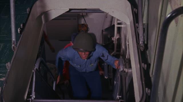 stockvideo's en b-roll-footage met ms cu view of three radar men at scopes  - men