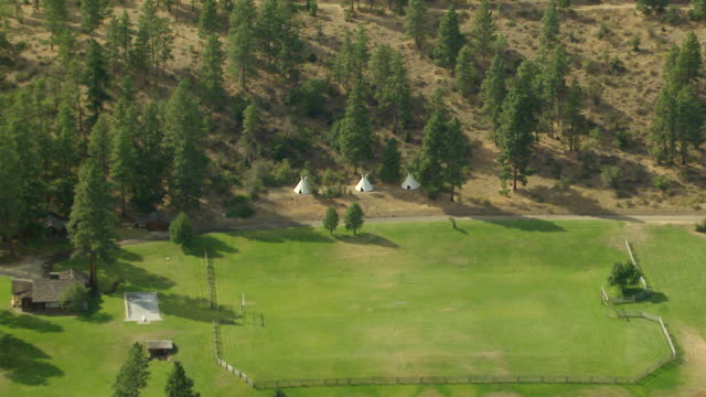 WS AERIAL ZI View of three teepee style tents in Grant County / Washington, United States
