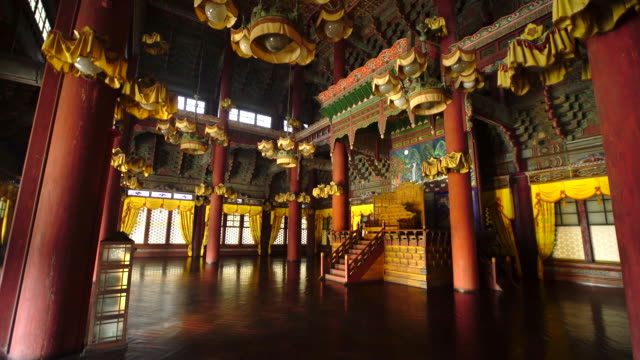view of throne of injeongjeon palace (korea national treasure 225) in changdeok palace (unesco world heritage site in seoul) - throne stock videos & royalty-free footage