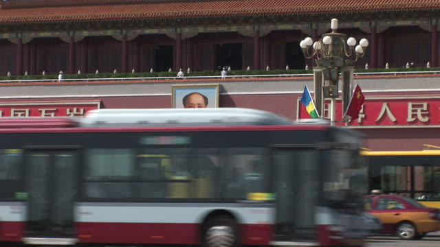 view of tiananmen square gate in beijing china - tiananmen square stock videos and b-roll footage