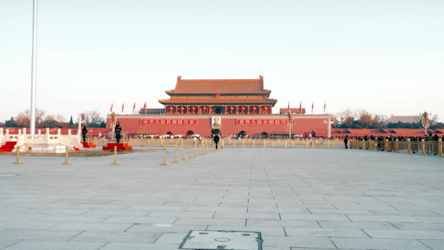 view of tiananmen square,beijing,china. - tiananmen square stock videos & royalty-free footage
