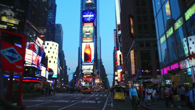 ws ds view of times square at new york / new york, united states - western script stock videos & royalty-free footage