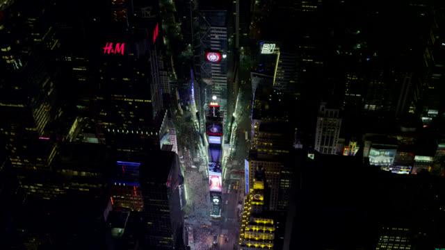 'WS AERIAL TU View of Times Square straight in City / New York City, United States'
