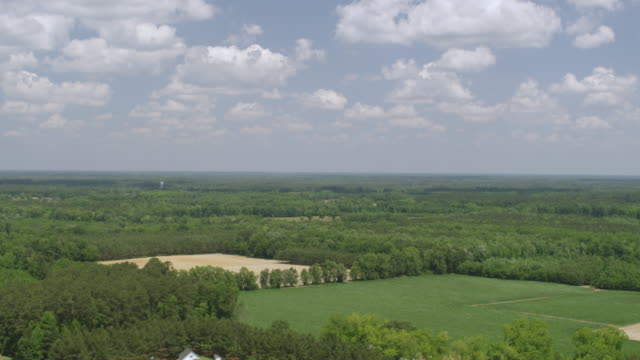 ws aerial pov view of tobacco land with landscape, water tower in distance / cerro gordo, north carolina, united states - tobacco crop stock videos & royalty-free footage