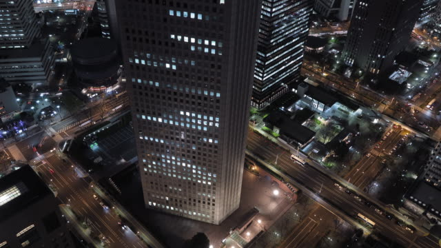 T/L view of Tokyo at night from Tokyo City Hall observatory