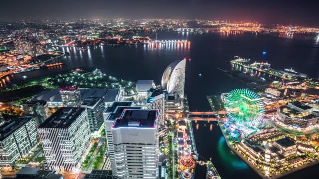 t/l ws ha td view of tokyo bay and minato mirai 21 at night / yokohama, japan - yokohama stock videos and b-roll footage