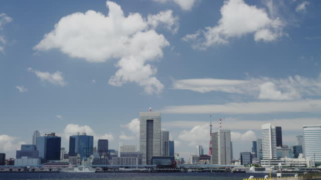 view of tokyo bay from harumi - wide shot stock videos & royalty-free footage