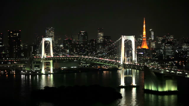 view of tokyo downtown at night with rainbow bridge - plusphoto stock videos & royalty-free footage