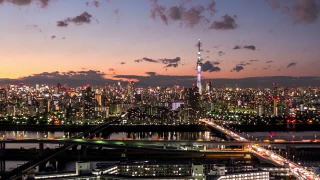 T/L WS HA ZO View of Tokyo Sky Tree and Tokyo Skyline / Tokyo, Japan