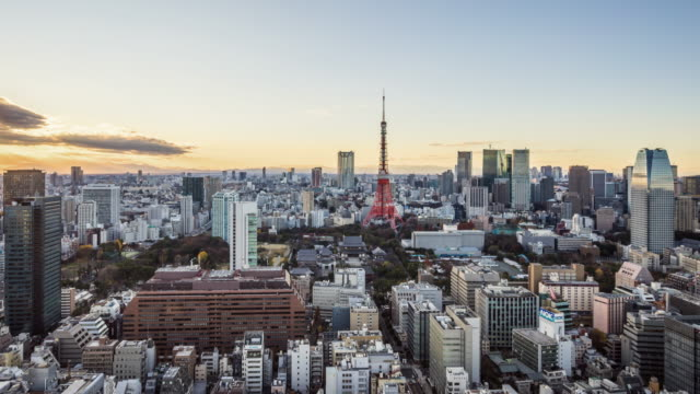 t/l ws ha pan view of tokyo skyline / tokyo, japan - skyline stock videos & royalty-free footage