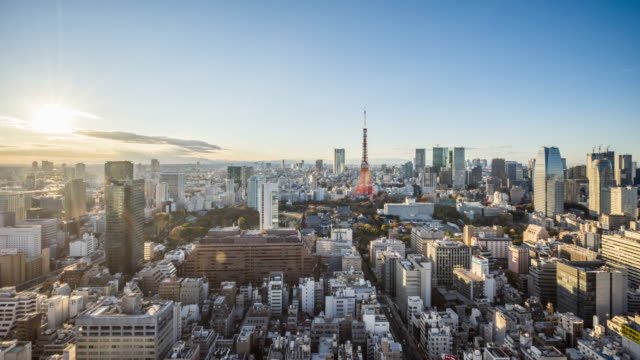 t/l ws ha zi view of tokyo skyline / tokyo, japan - international landmark stock-videos und b-roll-filmmaterial