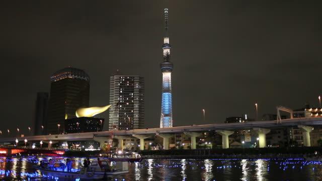 ws view of tokyo skyline with tokyo skytree at night during hotaru festival / tokyo, kanto, japan - スカイツリー点の映像素材/bロール