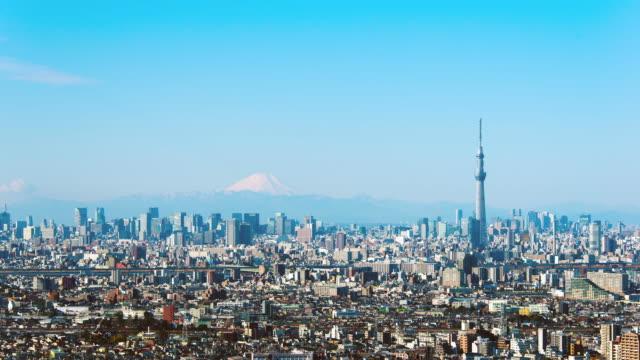 ws t/l view of tokyo skytree and mount fuji / tokyo, japan - スカイツリー点の映像素材/bロール