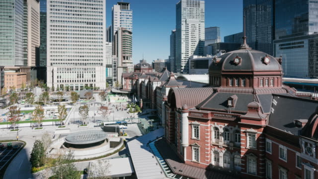 T/L WS HA View of Tokyo Station and Modern Skyscrapers / Tokyo, Japan
