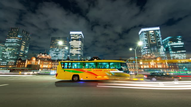 ws la t/l view of tokyo station at night / tokyo, japan - railroad car stock videos and b-roll footage