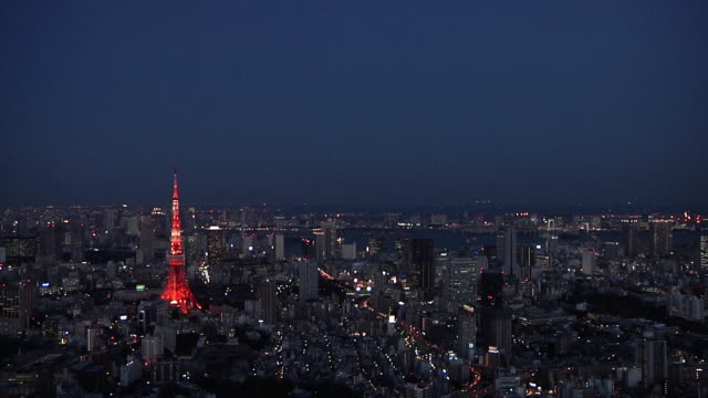 ws view of tokyo tower and cityscape at dusk / tokyo, kanto, japan  - 鎖定觀看位置 個影片檔及 b 捲影像