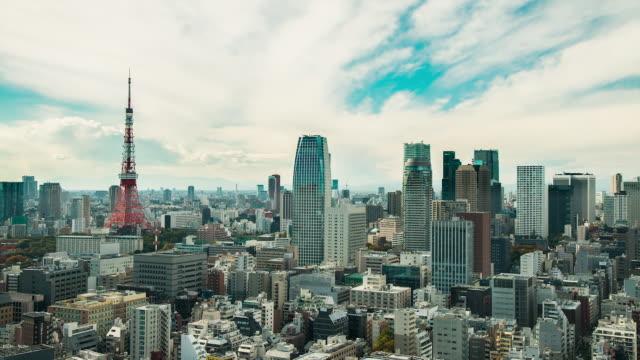WS T/L View of Tokyo Tower, kamiyacho, roppongi 1-chome districts / Tokyo, Japan