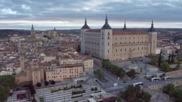 view of toledo with alcazar on top,medieval town,spain - palace stock videos & royalty-free footage