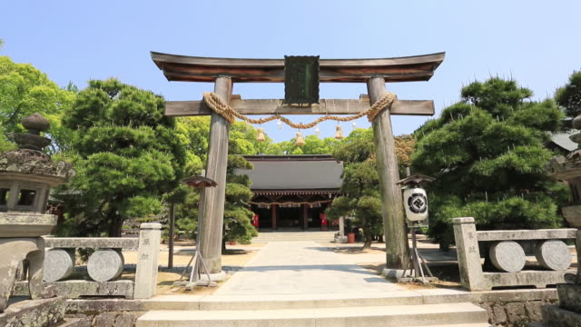 ws view of torii of yoshida shoin shinto shrine / hagi, yamaguchi prefecture, japan  - shrine stock videos and b-roll footage