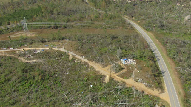 WS AERIAL ZI View of tornado fallen trees and demolished house in Franklin County / Alabama, United States