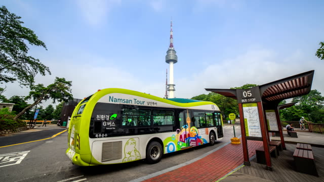 View of Tour bus station at N Seoul Tower