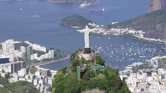 MS AERIAL DS View of Tourist at Cristo corcobado rio de janeiro / Rio de Janeiro, Brazil