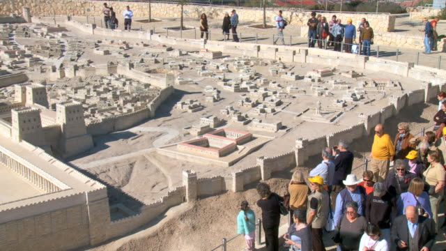 WS ZO View of tourist at Holy land model Museum / Jerusalem, Judea, Isarel