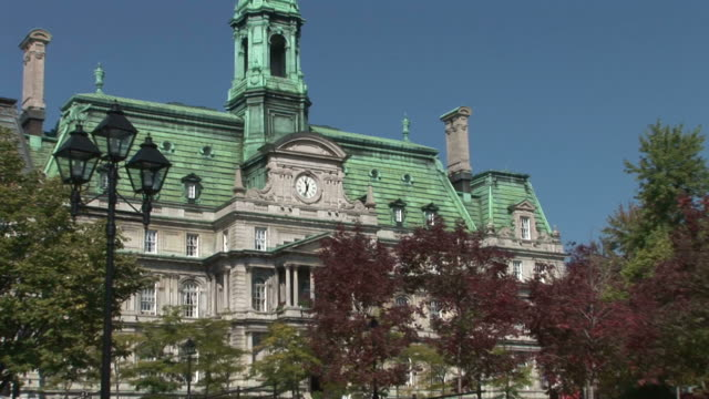 view of tourist at montreal city hall clock tower in montreal canada - hotel de ville montreal stock videos & royalty-free footage